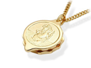 F.Hinds Genuine Yellow Gold Plated St. Christopher SOS Talisman Pendant & Chain