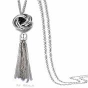 Long Tassel Necklace Lovely Knot Circle Pendant Silver Tone Snake Chain for Women