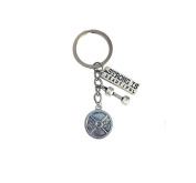 Strong is beautiful fitness jewellery dumbbell necklace weight charm fitness keychain gym jewellery fitness keyring