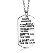 Women Men Boy Girl Gift Always Remember You Are Braver Stronger Smarter Than You Think Pendant Necklace