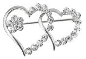 Wonvin The Double Hearts Scarf Buckle Brooch Lady's Brooches Pins With Crystal 18K Gold Plated
