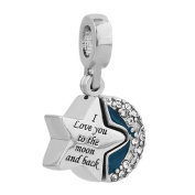 Sug Jasmin I Love You To The Moon And Back Charm Dangle Heart Beads For Bracelet