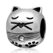 Cats Charms Genuine 925 Sterling Silver Cat with Pawprint Charm Animals Beads Charm fit for Euroepan Charms Bracelets