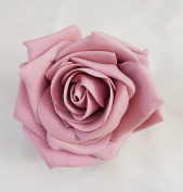 Dusky Pink Open Rose Artificial Hair Flower Clip Buttonhole Corsage by Fabulous Fascinators