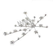 MultiWare Bridal Bridesmaid Wedding Plum Flower Crystal Hair Comb Clip