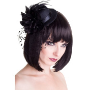 Banned Mini Top Hat with Hair Clips – Vintage Bowler Black