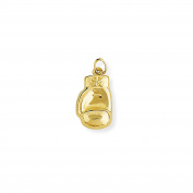 Jewelco London 9ct Yellow Gold Hollow 3D Single Boxing Glove Charm Pendant 10x21mm