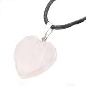 Rose Quartz Heart pendant On Black Rope Necklace