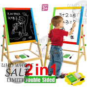FB FunkyBuys® 69cm Kids 2 in 1 Wooden Easel Children Deluxe WITH Free 54pc Magnetic Alphabets/Numbers/Symbols Educational Toys Double Sided