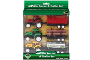 3 Diecast Metal & Plastic Farm Tractors With Trailers
