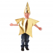 3-5 Years Childrens Golden Star Fancy Dress Costume Tabard Girls Boys Christmas Nativity Dress Up Hat Metallic Traditional Classic Christy's Amscan