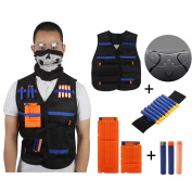TourWin Tactical Vest Kit for Nerf Guns N-Strike Elite Series, with 50 Pcs Refill Darts,(30 pcs bullets as bonus)2 Reload Clips,Face Tube Mask and Protective Glasses