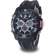 Wrist Armour Men's U.S. Marine Corps C29 Multifunction Watch, Black and White Dial, Black Rubber Strap
