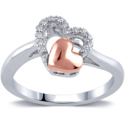 Diamond Accent Sterling Silver Double Heart Promise Ring