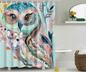 Watercolor Owl Shower Curtain Polyester Animal Print Shower Curtain Waterproof 180cmx180cm Home Decor With Hooks