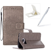 Strap Leather Case for Samsung Galaxy S7 Edge,Flip Wallet Cover for Samsung Galaxy S7 Edge,Herzzer Elegant Classic Solid Colour Grey Mandala Flower Printed Magnetic Purse Folio Smart Stand Cover with Card Cash Slot Soft TPU Inner Case