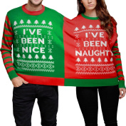 FEITONG New Arrival Naughty And Nice Double Christmas Jumper Sweatshirt Twin 2 Top Xmas Twosie