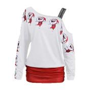 FEITONG Womens Sexy Christmas Print Tops Long Sleeve Off Shoulder Long Casual Blouse Shirt Tops