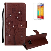For Samsung Galaxy S7 Edge Case [with Free Screen Protector], Funyye Premium Soft PU Leather Notebook Wallet Embossed Ant Tree Shine Bright Diamond Design with Card Holder Slots Stand Protective Covers Skin for Samsung Galaxy S7 Edge - Brown