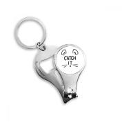Catch IT Mouse Face DIY Design Key Chain Ring Toe Nail Clipper Cutter Scissor Tool Kit Bottle Opener Gift