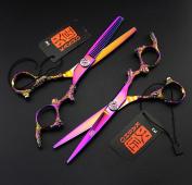 Hairdressing Hair Scissors 15cm Purple Strange Dragon Hairdressing Scissors Barber Scissors Flat Cut Dental Scissors Can Be Thinned