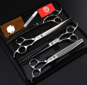 Hairdressing Hair Scissors8.0inch Purple Silver Light 4 Pet Beauty Scissors Cut Straight Shear Dental Scissors Suit