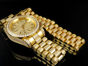 Jewellery Unlimited Mens 18k Yellow Gold Finish Stainless Steel Presidential Watch Bracelet Set