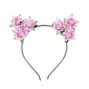 Pinzhi Pink Women Cat Ears Headband Party Costume Rose Flower Head Hair Band Hair Accessory
