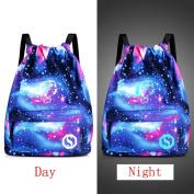 squarexUnisex Light Preppy Teenagers Noctilucent Cartoon Drawstring Bundle Pocket Bags for Men Women