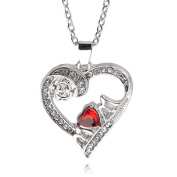 QUINTRA Fashion Double Heart & Crystal Rose Heart Love Jewellery Necklace White Crystal Rose Heart Pendant Statement