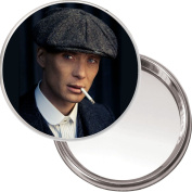 Unique Button Mirror with a picture of Tommy Shelby played by Cillian Murphy in the BBC series Peaky Blinders. Delivered in a Black Organza bag for a Special Gift.