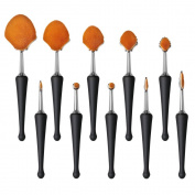 Beauty Star 10 pcs New Super Soft Shell Shape Oval Toothbrush Makeup Brush Set Foundation Brushes Contour Powder Blush Conceler Brush Makeup Cosmetic Tool Set Rose Sliver