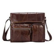 Zhhlinyuan First Cowhide Leather Zipper Briefcases Laptop Tote Bags Shoulder Bag Daypack Laptop Bag with Multiple Compartments for Mens Women Mans