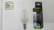 LED Filament Bulb 4 W = 40 W Candle TRASP Sapphire and 14