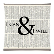 The New Arrive 2015 ORIGINAL ARTWORK Printed on Upcycled Dictionary Page Inspirational Art Motivational Poster Quote Art I Can and I Will Pillow Cases - 18x18