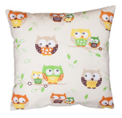 Amilian® Handcrafted Decorative Owl Print Ecru/Multi-Coloured 100% Cotton Premium Quality Durable Throw Cushion Cover Pillowcase Only 40 cm x 40 cm