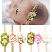 CHIC-CHIC 6PCS Newborn Baby Girls Flower Headbands Handmade Elastic Hair Bands Photography Props
