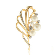 Cdet 1X Brooch Women Corsage Leaf Pearl Wedding Bridal Pin Dress Brooch Scarves Shawl Clip Bag Ornament Christmas Gift Golden