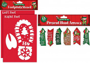 Christmas Eve Santa Kit for Kids - Santa Reindeer Footprints Stencils Children Glitter Fun Gifts Plus Present Hunt Arrows with Festive Designs and Directions