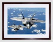 MILITARY AIR PLANE FIGHTER JET F22 RAPTOR TYNDALL FRAMED ART PRINT B12X3543