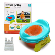 Baby Foldable Toilet Travel potty - WISHTIME 2 in 1 Comfortable Seat Portable Toilet Baby Training Potty Chair Assistant Multifunction Eco friendly Stool with Reusable Bags