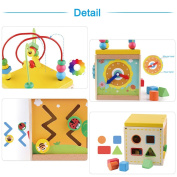 Pueri Activity Cube Wooden Educational Toys Activity Centre Intelligence Developing Toy Busy Town Wooden Activity Cube for Children Babies