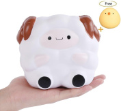 CosCosX 1 PCS White Sheep Squishies Toys, Kawaii Jumbo Cream Scented Slow Rising Squishy Charms Squeeze Kid Toy for Stress Relief and Time Killing, Home Decoration