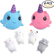 CosCosX 6 PCS Squishies Toys, 2 Whale + 4 Cat,Kawaii Jumbo Cream Scented Slow Rising Squishy Charms Squeeze Kid Toy for Stress Relief and Time Killing, Home Decoration