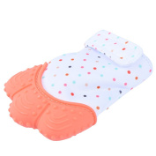 Pretty See Baby Teething Mitten Sounding Baby Teething Glove Hygienic Baby Soothing Mitt,Practical Silicone Teether Mitten for Self-soothing Pain Relief, Protects Babys Hands from Chewing, Orange