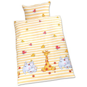 2PC Baby Bedding Set Pillowcase + Duvet to fit Baby cot - animal pattern with elephants and giraffe