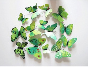 Frolahouse 24pcs 3D ViviD Special Lively Butterfly Art DIY Decor Wall Stickers Decals Nursery Decoration, Bathroom Décor, Office Décor, 3D Wall Art, 3D Crafts for Wall Art KiDs Room BeDroom