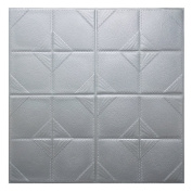 3D Brick Wall Stickers WINOMO Self Adhesive Wall Tiles Foam Removable Wallpaper Grey Waterproof 60x60cm