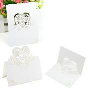 Koedu 50pcs Love Heart Laser Cut Wedding Party Table Name Place Cards Favour Decor