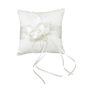 iShine Faux Pearls Decor with Ribbons Bud Wedding Pocket Ring Pillow Cushion Bearer 15cm x 15cm